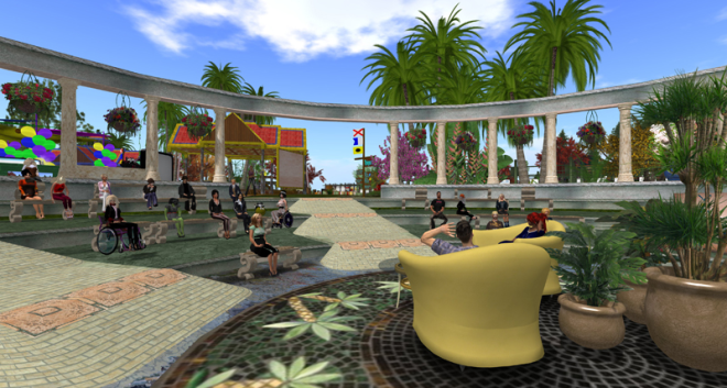 Screenshot of the open-air IDRAC 2014 conference theatre, looking at the audience.