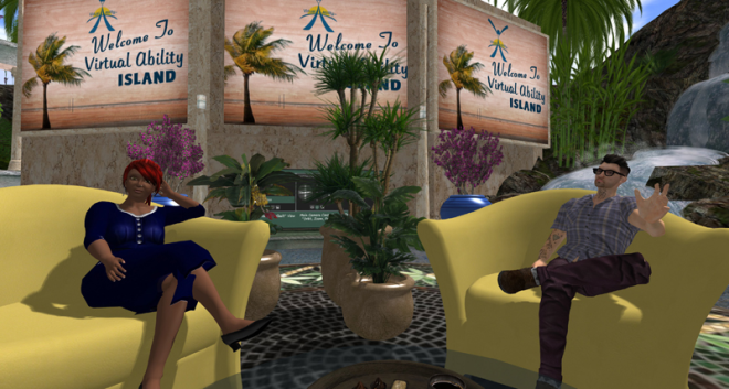 Screenshot of two Second Life avatars, sitting in armchairs on a stage.